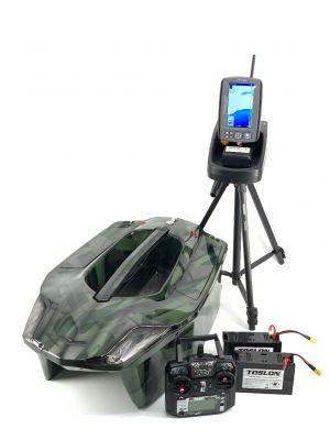 Toslon XBoat 3D Dark Green Camo with TF740 GPS Autopilot Fishfinder