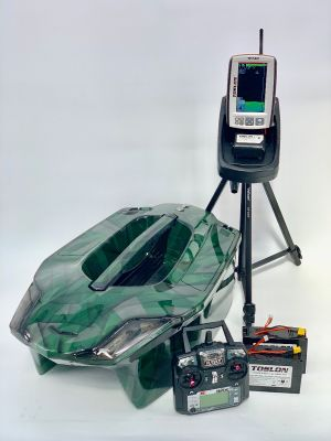 Toslon XBoat Space Green Camo with Toslon TF740 Fishfinder, GPS, Autopilot