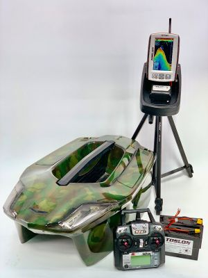 Toslon XBoat Forest Camo With TF740 GPS Autopilot Fishfinder