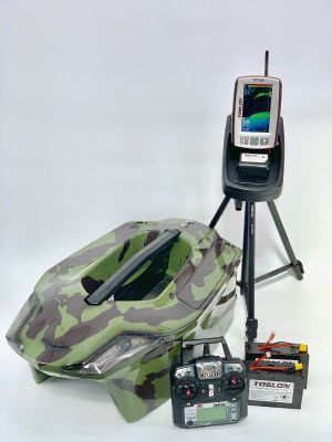 Toslon Xboat 2 Color Green Camo with Toslon TF740 Fishfinder, GPS, Autopilot