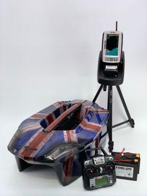 Toslon Xboat Union Jack with Toslon TF740 Fishfinder, GPS and Autopilot