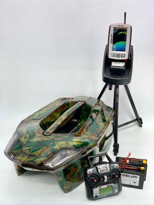 Toslon XBoat Rain Forest Camo with TF740 Fishfinder, GPS, Autopilot